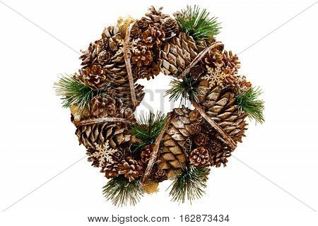 Christmas wreath of cones. Christmas decorations. Isolated. White background.