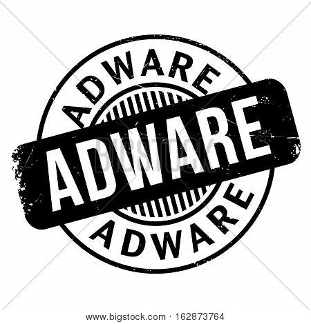 Adware rubber stamp. Grunge design with dust scratches. Effects can be easily removed for a clean, crisp look. Color is easily changed.