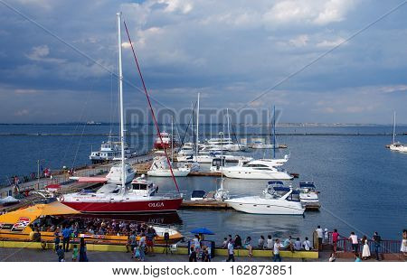 ODESSA UKRAINE - AUGUST 15 2016: View of yacht club located at passenger seaport of international importancenorthwest coast of the Black Sea