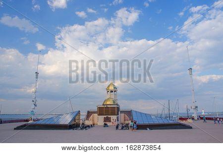 ODESSAUKRAINE - AUGUST 15: St.Nicholas orthodox church at Odessa sea port on August 15 2016 in OdessaUkraine.Saint Nicholas is the patron saint of sailors merchants archerschildren brewers pawnbrokers and students