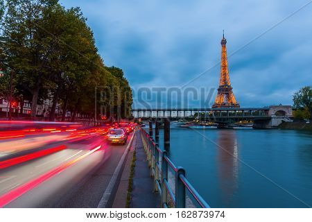 Eiffel Tower In Paris With Light Performance Show At Night