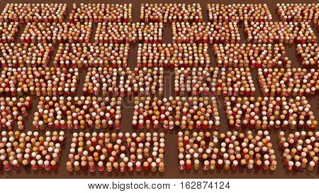 Crowd of small symbolic figures red brick shapes 3d illustration horizontal