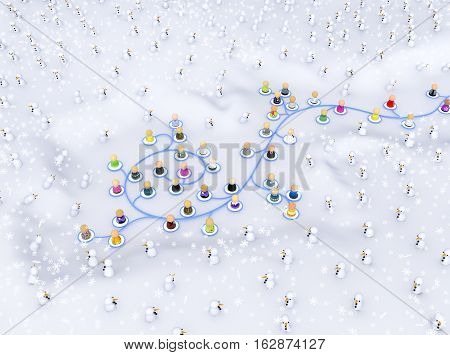 Group of small symbolic figures linked by lines winter cold 3d illustration isolated horizontal