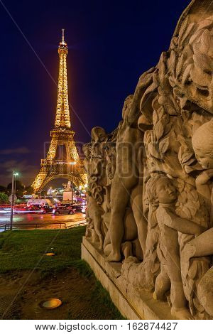 Eiffel Tower With Light Performance In Paris, France