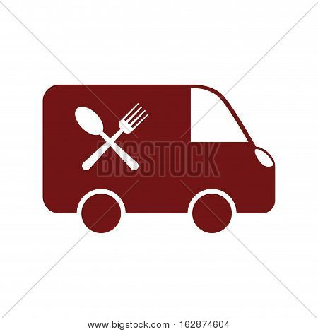 Food delivery vehicle icon vector illustration graphic design