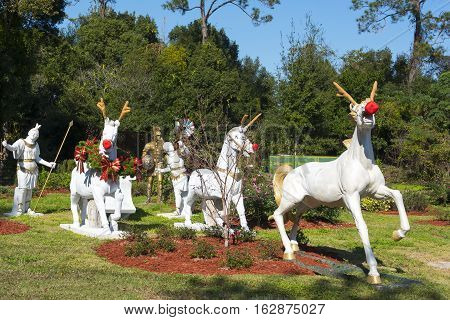 Gotha Florida - December 22nd 2016: Horses decorated as reindeer at Christmas in Gotha Florida - December 22nd 2016