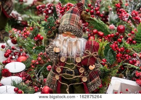 Santa Claus Father Frost. Christmas tree. New Year's decorations.