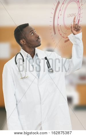 Closeup portrait smiling, happy doctor, pharmacist, dentist pointing with finger with oversized coat. Positive face expression, emotions, feeling, attitude. Loading sign