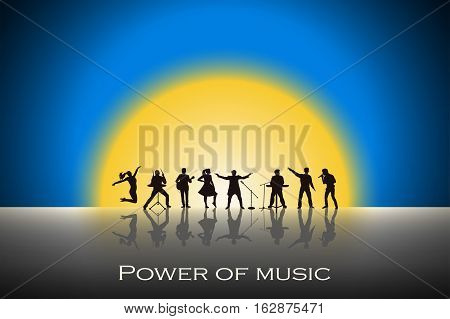 Band Show On Blue Sunset Background. Festival Concept. Set Of Silhouettes Of Musicians, Singers And