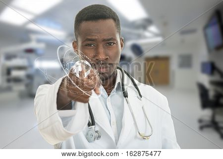 Angry african black male doctor pointing finger at you with stethoscope around his neck, pointing at camera with serious face and medical symbols.
