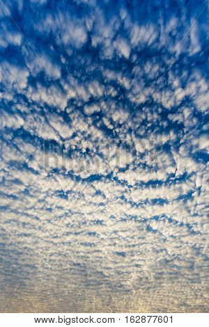 Cloudscape With Altocumulus Clouds, Altocumulus Middle-altitude Cloud In Stratocumuliform - Natural