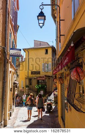Cannes, France - August 05, 2016: Road In The Old Town Of Cannes With Unidentified People. Cannes, A