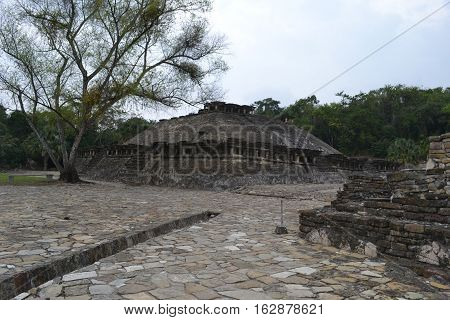 Ruins and and drainage canal at the pre-Columbian archeological site El Tajin in Papantla, Veracruz, Mexico
