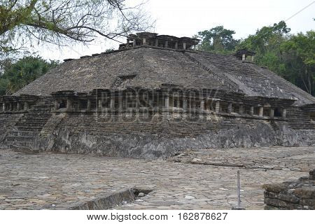 Ruins and drainage canals  at the pre-Columbian archeological site El Tajin in Papantla, Veracruz, Mexico
