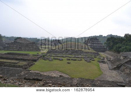 Ruins of pyramid at the pre-columbian archeological site known as El Tajin located in Papantla, Veracruz, Mexico taken during a thunderstorm