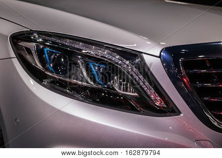 The Closeup Front Headlight Reflection industry car