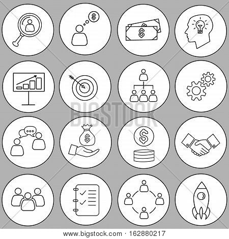 Set of thin line bussines icon. Vector icon set.