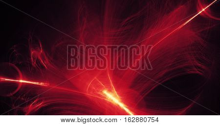 Abstract Design In Red And Yellow Lines Curves Particles On Dark Background