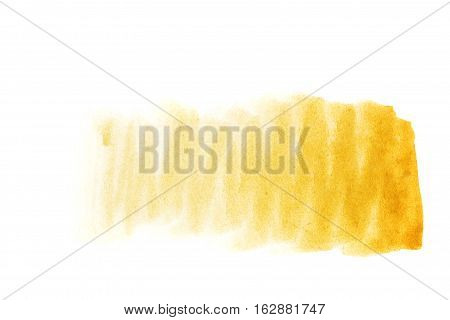 Ochre watercolor background. The gradient color transition from a saturated ocher to light ocher. Design elements. Painting. Grunge colorful background on watercolor paper.