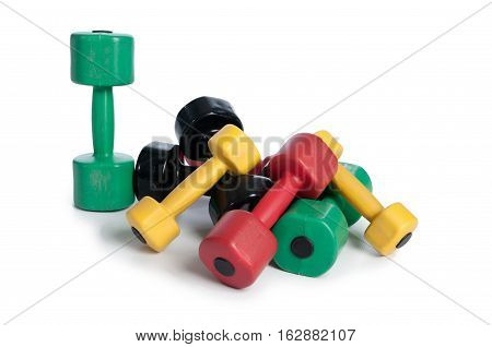 Dumbbells isolated on white background with soft shadow.