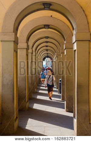 Arcade In The Old Town Of Florence, Italy
