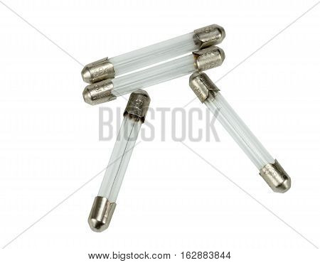 Electrical fuse in glass capsule shape on white background