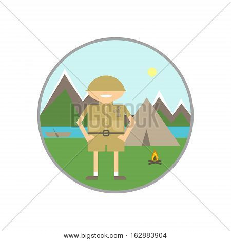 Summer vacation on the river. Camping scouts rafting orienteering. Vector illustration symbol icon