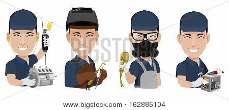 Many Industrial Workers on transparent background assembly welding painting and wiring