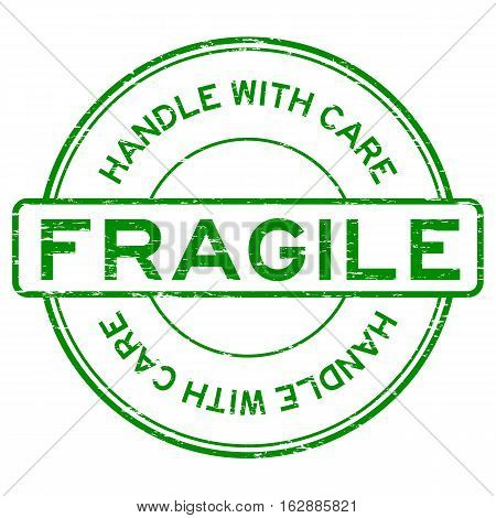 Grunge green fragile handle with care rubber stamp