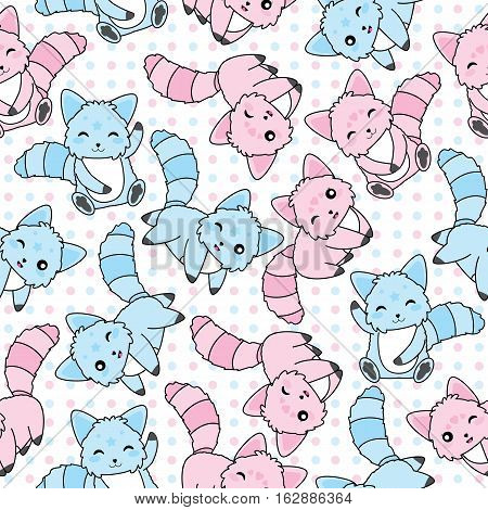 Seamless background of animal illustration with cute pink and blue dog on polka dot background suitable for kid scrap paper, wallpaper and postcard