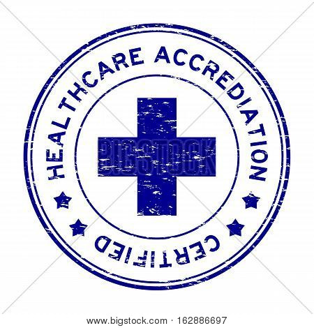 Grunge blue healthcare accrediation certified round rubber stamp