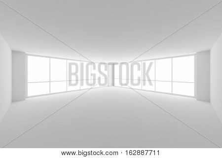 Business architecture white colorless office room interior - empty white business office room with white floor ceiling walls and two large windows and empty space 3d illustration wide angle view