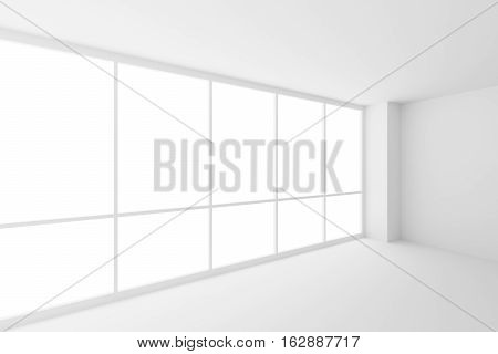 Business architecture white colorless office room interior - corner of empty white business office room with white floor ceiling walls and large windows and empty space 3d illustration