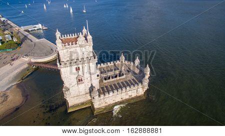 Aerial view of Belem tower - Torre de Belem in Lisbon, Portugal