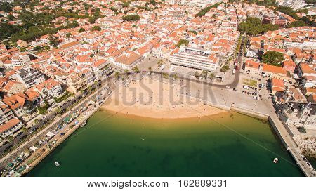 Beautiful Beach in Cascais Portugal aerial view