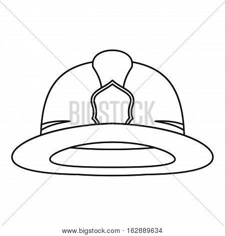 Outline illustration of fireman helmet vector icon for web