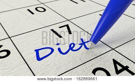 Blue ballpen on a paper calendar closeup with the word diet 3D illustration