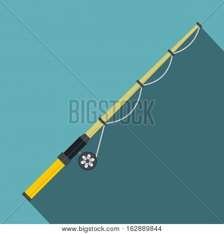 Flat illustration of rod and reel vector icon for web isolated on baby blue background