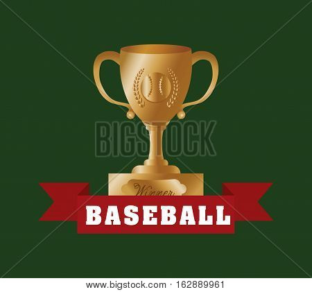 baseball championship cup icon vector illustration graphic design