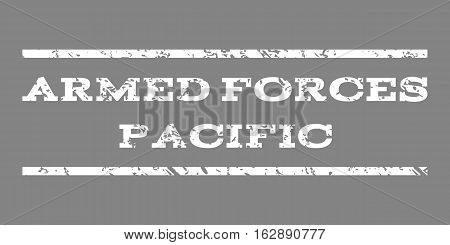 Armed Forces Pacific watermark stamp. Text tag between horizontal parallel lines with grunge design style. Rubber seal stamp with scratched texture.