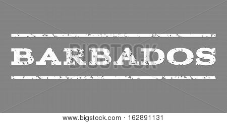 Barbados watermark stamp. Text caption between horizontal parallel lines with grunge design style. Rubber seal stamp with unclean texture. Vector white color ink imprint on a gray background.