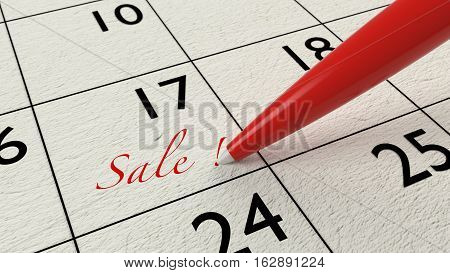 Red ballpen on a paper calendar closeup with the word sale business concept 3D illustration