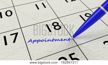 Blue ballpen on a paper calendar closeup with the word appointment 3D illustration
