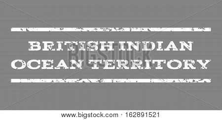British Indian Ocean Territory watermark stamp. Text tag between horizontal parallel lines with grunge design style. Rubber seal stamp with unclean texture.