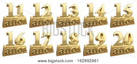 Set of golden digits on a gold ingot for the anniversary. Translation from Spanish - Years. 3d illustration