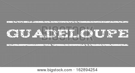 Guadeloupe watermark stamp. Text tag between horizontal parallel lines with grunge design style. Rubber seal stamp with dirty texture. Vector white color ink imprint on a gray background.