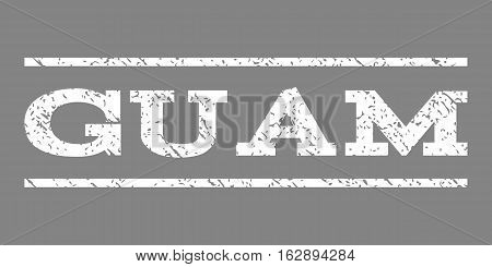 Guam watermark stamp. Text caption between horizontal parallel lines with grunge design style. Rubber seal stamp with unclean texture. Vector white color ink imprint on a gray background.