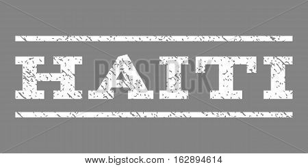 Haiti watermark stamp. Text tag between horizontal parallel lines with grunge design style. Rubber seal stamp with dust texture. Vector white color ink imprint on a gray background.