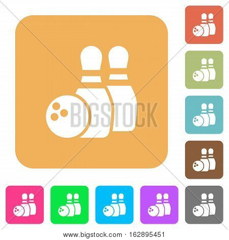 Bowling icons on rounded square vivid color backgrounds.