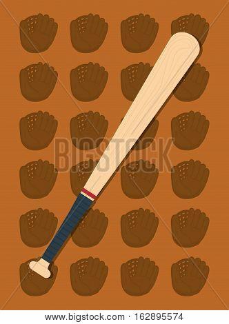 baseball bat leather glove icon vector illustration graphic design